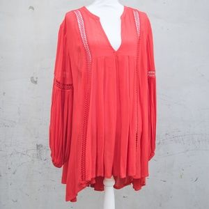 Free People Dresses - Free People Red Bell-Sleeve Tunic Dress